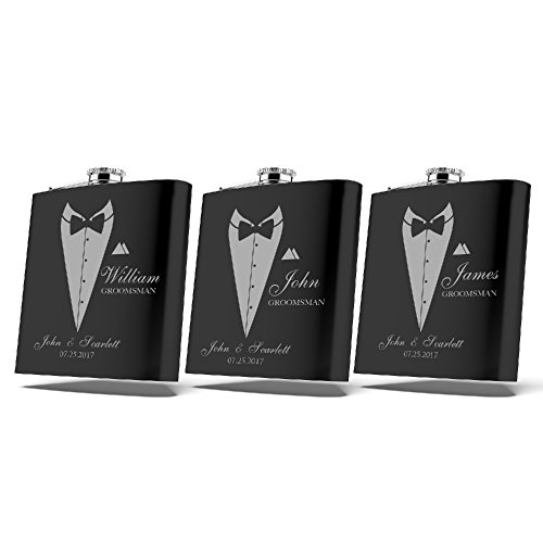 Set of 6 Set of 3 Single  Personalized Flask Groomsmen Gift Customized Groomsman Flasks Wedding Favors Matte Black … 3
