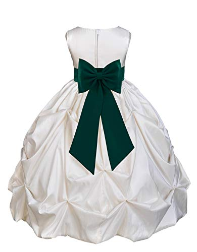 Ivory Satin Taffeta Pick-Up Bubble Flower Girl Dress Princess Dresses 301T -