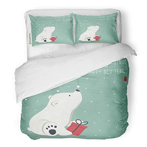 (Emvency Bedding Duvet Cover Set The Depicts Seated Little Polar Bear Box Garland of Snow Balls Over and Phrase Merry Christmas Happy New Year 3 Piece King 104