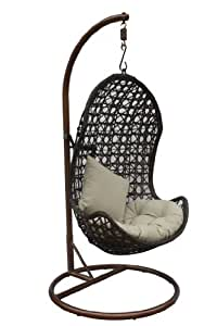 JLIP Brown Rattan Patio Hanging Chair with Base and Beige Cushions