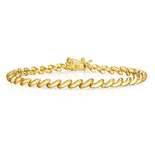 7 Inch 10k Yellow Gold lightweight semi-solid San Marco Bracelet for Men and Women, 5mm Lightweight Solid Bracelet