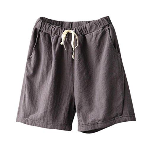 Women Cotton Linen Summer Short Pants Elastic Waist Pocket Casual Shorts Jersey Lounge Walking Shorts (2XL, Gray)