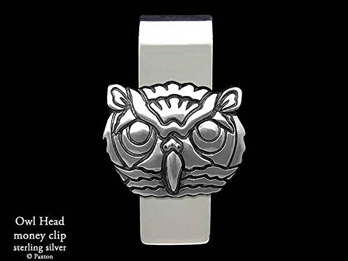 Owl Head Money Clip in Solid Sterling Silver Hand Carved, Cast & Fabricated by Paxton by Paxton Jewelry