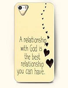 A Relationship With God Is The Best Relationship You Can Have - Hearts - iPhone 5 / 5s Hard Back Plastic Beige