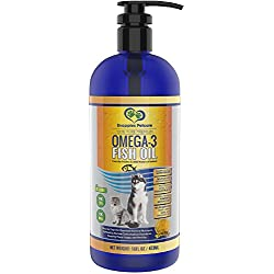 Omega-3 Fish Oil Liquid for Pets - 100% Pure & Natural Omega 3 Fish Oil for Dogs & Cats - 16oz Snappies Unscented Liquid Fish Oil for Cats & Dogs Comes with Mess Free Pump & Pouring Cap