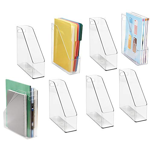 Magazine Storage Holders - mDesign File Folder Holder Storage Organizer Set with 8 Identification Labels - Vertical with Handle - Holds Notebooks, Binders, Envelopes, Magazines - Home Office and Work Desktops, Pack of 8, Clear
