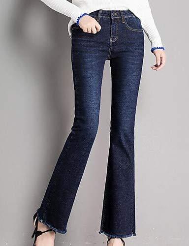 YFLTZ pour Unie Couleur Jeans Blue Pantalon Femme Navy Basique SxxranU