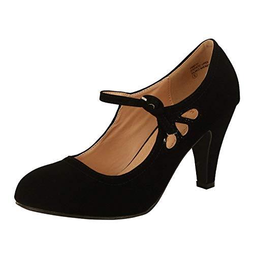 Toe Mid Heel Pumps - Chase & Chloe Kimmy-21 Women's Round Toe Pierced Mid Heel Mary Jane Style Dress Pumps (6 B(M) US, Black Nubuck)