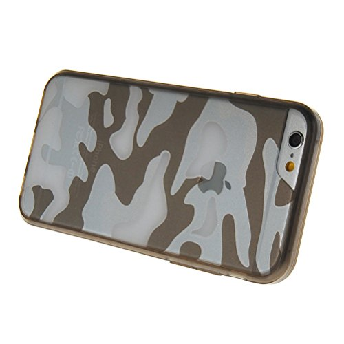 MOONCASE iPhone 6 Plus Case Camouflage Series TPU Silikon Tasche Case Cover Schutzhülle Etui Hülle Schale für Apple iPhone 6 Plus 5.5'' Grau