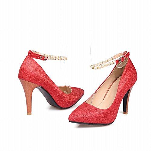Latasa Kvinna Mode Pekade Tå Hög Klack Ankelbandet Klänning Pumpar Skor Röd