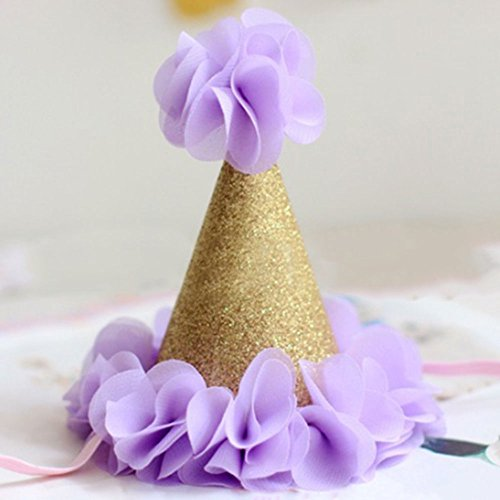- MinXiao Cute Headwear Flower Cap for Kids Baby Shower Hat DIY Cute Headwear Flower Cap Kids Party Supplies Pink/Purple