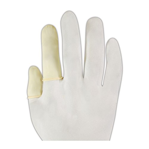 QRP 7C-XL 9775 3 Mil 2.66'' Disposable Latex Finger Cots, AA, White, XL (Pack of 144)