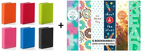 Kittrich Stretchy Book Covers With Bonus Bookmarkers, Assortment of Solid Colors, 6 Pack, Maximum Stretch up to 9 x 11-Inch