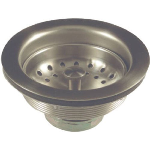 DANCO Kitchen Sink Drain Strainer Assembly | Basket Strainer Replacement | Fits 3-1/2 in. Drains | Metal | Brushed Nickel (89302)