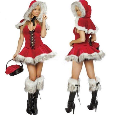 Black Temptation Women's Red Riding Hood Christmas Costume Fancy Dress(198)