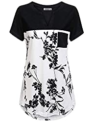 Moqivgi Tunic Tops For Leggings For Women Short Sleeve Vneck Flowered Splicing High Low Hem Fancy Blouses Business Casual Easy Fit Weekday Misses Tunics Summer Loft Clothes White Xx Large