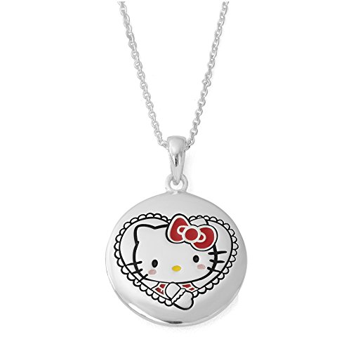 Hello Kitty Girls Silver Plated I Love You Pendant Necklace, 18