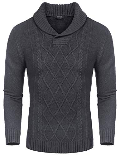COOFANDY Men's Shawl Collar Sweaters V-Neck Cotton Relaxed Fit Cable Pullover Grey