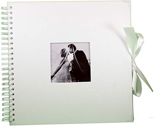 Ribbon Guest Book - White Scrapbook Wedding Photo Album - 80 DIY 12x12 Pages with Cover Photo Pocket and Corner Protectors - Silk Ribbon - Craft Paper for Guest Book, Honeymoon, Anniversary, or Valentine's Day Gift