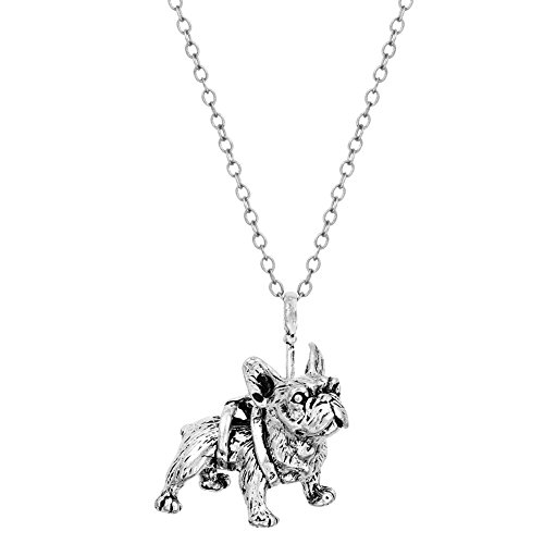 Sterling Silver Plated White Pug Dog Charm Animal Pendant Necklace (Silver Pug Sterling)