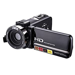 Powpro PP-HDV301M Night Vision Video Camera 1080P Full HD 3.0inch LCD Screen Digital Video Camcorder 16X Digital Active Zoom with Microphone