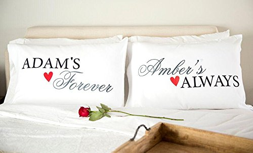 Personalized Couples Pillowcases - Romantic and Unique Wedding and Anniversary Gifts, Also New Engagement Gifts for Couple (Adam & Amber Design)