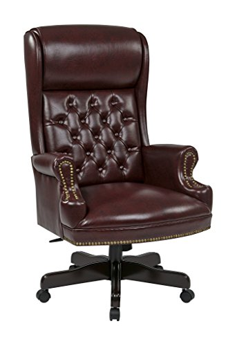 Office Star TEX228-JT4 Deluxe High Back Traditional Executive Chair with Solid Arms and Built in Headrest