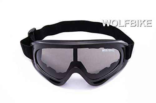 WOLFBIKE Super Black Motorcycle Cycling Bicycle Bike ATV Motocross Ski Snowboard Off-road Goggles FITS OVER RX GLASSES Eye - Rx Moto