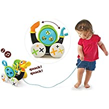 Pull Toy - Pull Along Duck Whistles As Toddlers Pull It (With Bead Coaster)