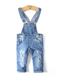 Kidscool Girls Ripped Holes Stretchy Stone Washed Soft Jeans Overalls