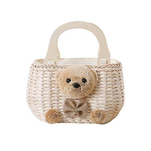 GWELL Süß Bär Strohtasche Strandtasche Schultertasche Sommer Klein Tasche mit Holz Henkeln Damentasche Kinder Handtasche Urlaub mehrfarbig beige