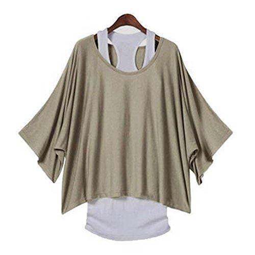 Femme Tshirt manches longues Sweat-shirt + Gilet - Hibote Femmes 2 pièces Chemises Slim Gilet Oversize Chemise Sexy Off épaule Blouse Baggy Tops Noir Kaki Gris clair S M L XL XXL