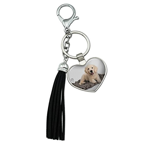 Graphics and More Golden Retriever Puppy Dog Knotty Blanket Chrome Plated Metal Heart Leather Tassel Keychain