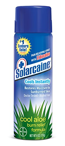 Solarcaine Cool Aloe Burn Relief Spray with Lidocaine and Aloe Vera, Doctor Tested, Fragrance Free, Alcohol Free and Non-irritating, #1 Sunburn Relief Brand (6 Ounce Spray) ()