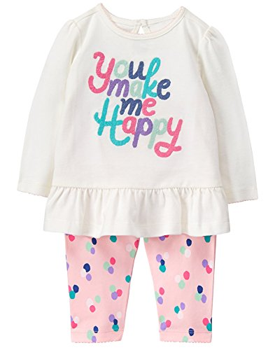 Gymboree Baby Girl Long Sleeve Set, Happy Pink Dots, 3-6 mo