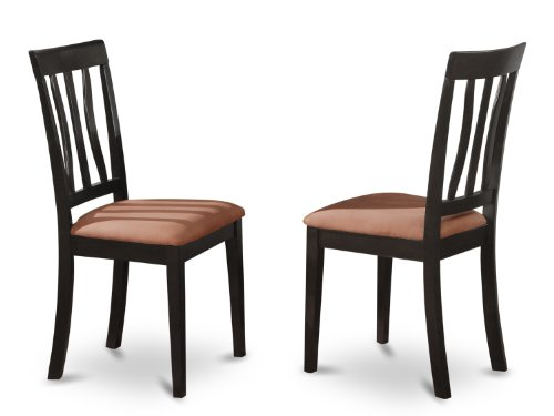 East West Furniture ANC-BLK-C Kitchen Chair Set with Cushion Seat, Black Finish, Set of 2