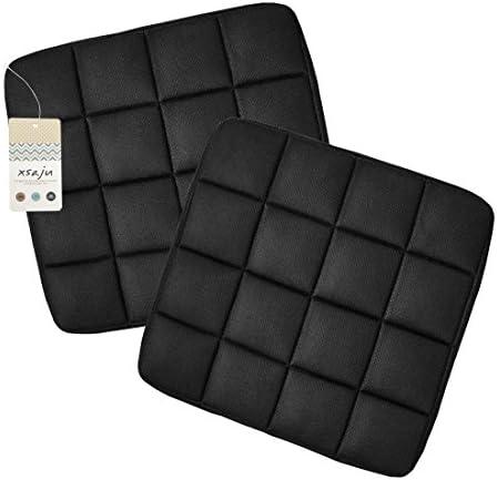 【XSAJU】消臭 ムレ防止 竹炭クッション カーシート オフィスチェア リビングに 2枚セット(ブラック)