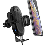 X-Doria Defense Helix Car Mount with RoboGrip, Wireless Car Charger, Air Vent Mounted, 10W Fast Charging for Apple iPhone, Galaxy, Google - Robotic arm with Sensor, one Hand Operation