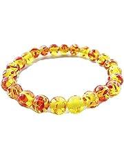 LALANG Yellow Red Bracelets Handmade Crystal Bead Bracelet Trendy Bangle for Sweetheart