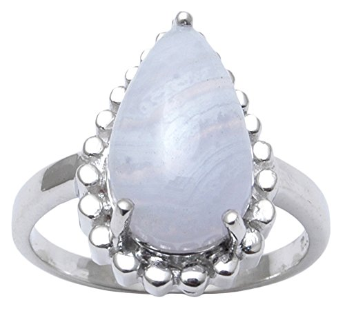 Banithani 925 Sterling Silver Amazing Blue Lace Agate Stone Ring Women Fashion Jewelry