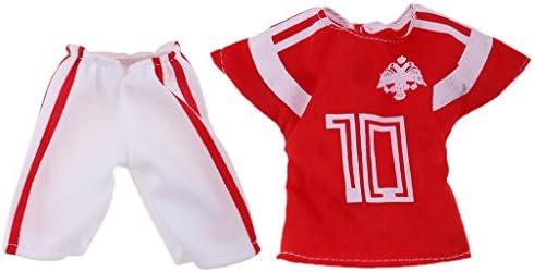 2点 32cmバービーケンドールのため サッカーユニフォーム 制服セット