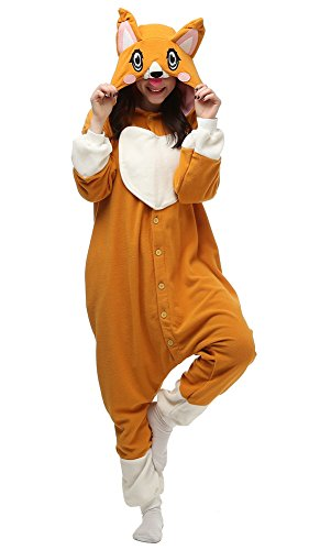 Decahome Unisex Adult Khaki Dog Pyjamas Christmas Costume One Piece Animal Cosplay Onesies Small Height from 150CM-160CM (59
