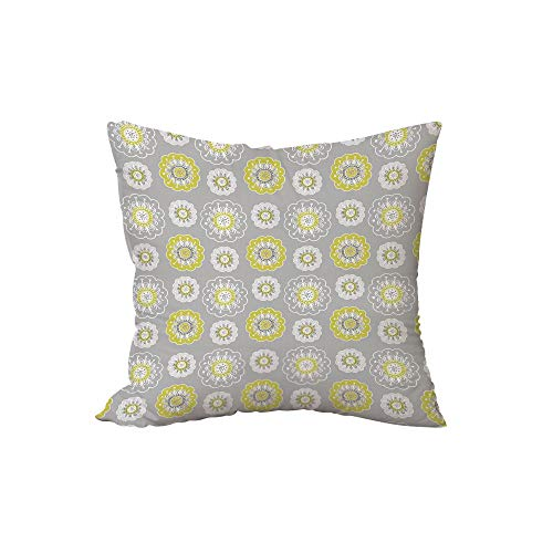 iPrint Polyester Throw Pillow Cushion,Grey and Yellow,Pale Grey Backdrop with Ethnic Inspired Flowers Ivy Image,Mustard Yellow and White,17.7x17.7Inches,for Sofa Bedroom Car Decorate