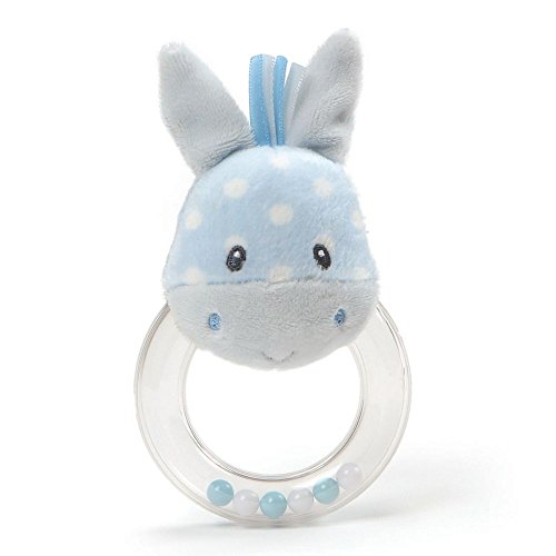 Gund Roly Poly Plush Blue Polka Dot Horse Ring Rattle Baby Toy (Polka Dot Rattle)
