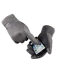 Men Touchscreen Gloves, Ulstar Warm Suede Leather Gloves Medium Size