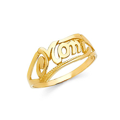 Solid 14k Yellow Gold Mom Ring Mother Day Gift Band Polished Finish Genuine 7MM, Size 6 Polished Mom Ring