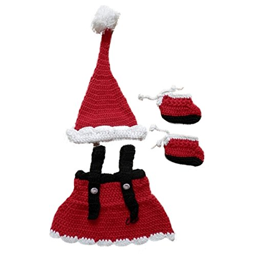 [Jastore® Infant Newborn Costume Photography Prop Santa Claus Crochet Knitted (Style 7)] (Claus Costume)