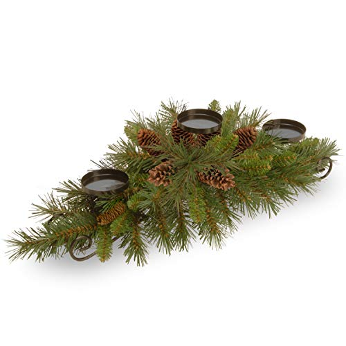 National Tree 30 Inch Pine Cone Collection Centerpiece with 3 Candle Holders and 6 Pine Cones ()