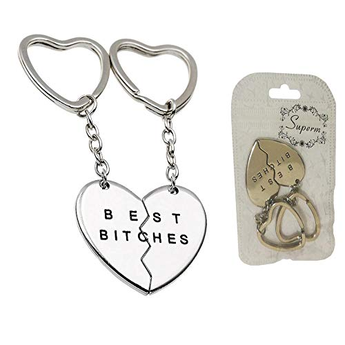 Best Friend Keychains (Charms Best Bitches Keychain,Best Friend KeyRing,BFF Keychain,Split Heart Key Ring, Best Friend Forever Love Jewelry Christams Gift,Best Bitches Love)