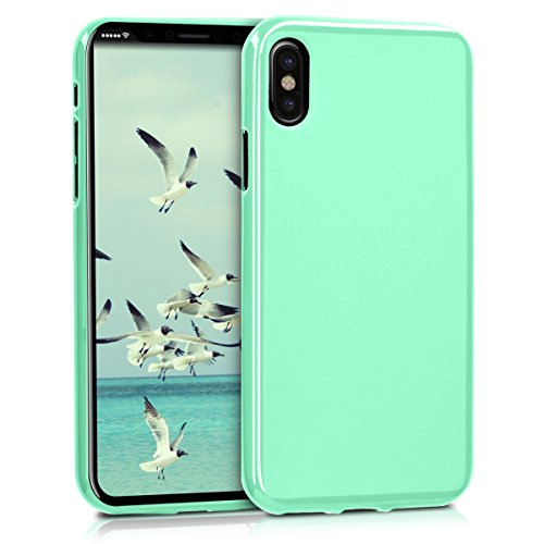 kwmobile TPU Silicone Case for Apple iPhone X - Soft Flexible Shock Absorbent Protective Phone Cover - Mint Matte